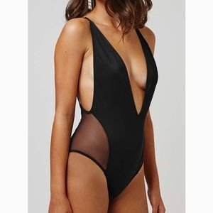 Other - Topshop Plunging Mesh Black One Piece Swimsuit